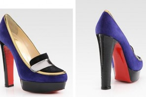 Purple and black loafers by Christian Louboutin