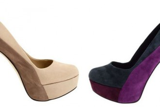 Colourblock shoes with high heel and platform sole