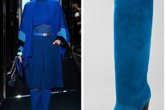 Blue suede knee high heeled boots by Diane Von Furstenberg