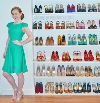 Shoeperwoman in green dress and polka dot heels