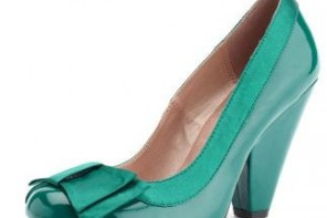 Green pumps with cone heel and bow from Charlotte Russe