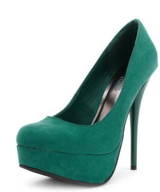 Green suede platforms with high heel from Charlotte Russe