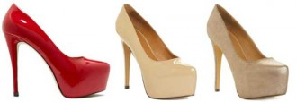 High heeled platform shoes in red, nude and bronze