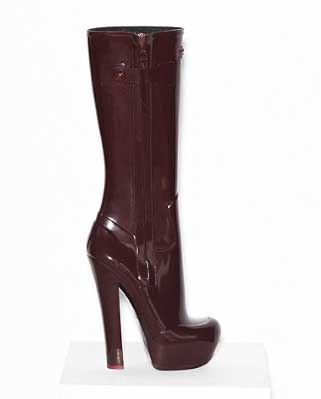 Louis Vuitton high heeled Wellington boots