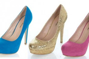 Blue, gold and pink platform court shoes
