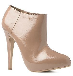 Nude patent shoe boots from New Look