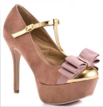 Pink t-bar shoes with bow and platform