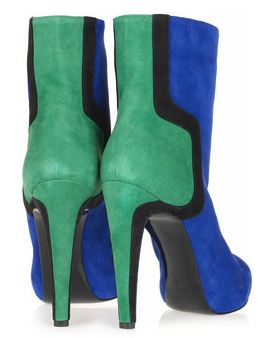 Ankle boots with green heels and blue upper by Pierre Hardy