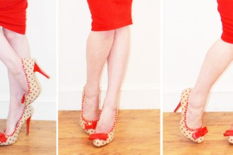 polka dot shoes with red pencil skirt