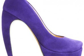 purple curved heel pumps
