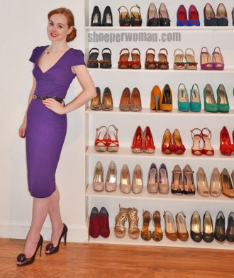 Shoeperwoman in purple pencil dress and Prada shoes