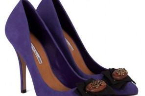 Purple court shoes with pointed toe and button embellishment