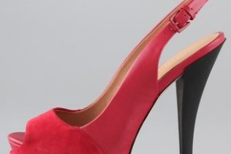 Red slingback shoes by L.A.M.B.