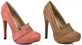 high heeled brogue shoes