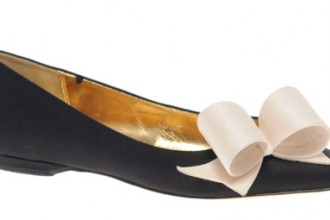 Ted Baker black flats with pointed toe and white bow