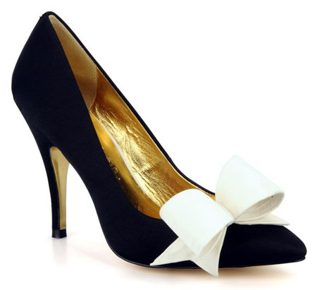 Ted Baker black 'Fleur' pumps with white bow