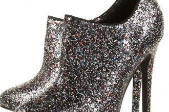 Glitter ankle boots with high heels
