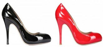 Red and black patent pumps