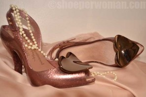 Pink glitter Lady Dragon heart shoes by Vivienne Westwood for Melissa
