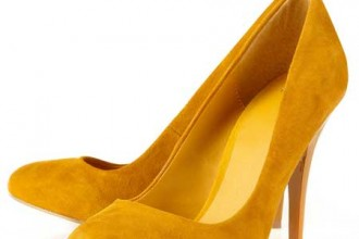 Yellow pointed toe court shoes from Topshop