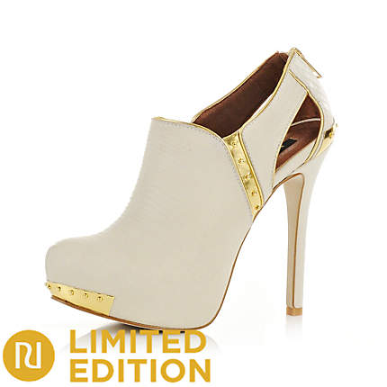 River island cream cutout detail ankle boots