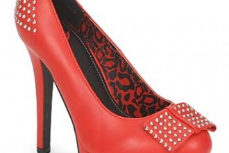 red platform shoes with bow
