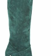 Green suede knee boots