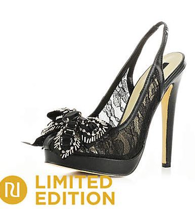 Black lace bow detail platform shoes from River Island shoes