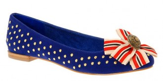 Blue studded flats with rosette