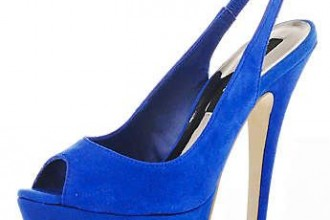 Blue suede slingback shoes from River Island