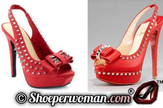 Red spiked slingbacks by Charlotte Russe and Christian Louboutin
