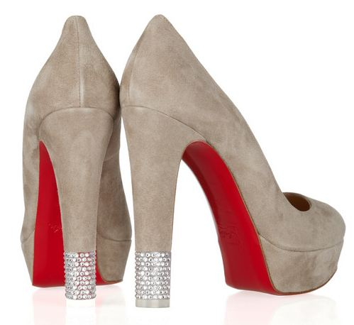 Red soled shoes with crystal heel tips