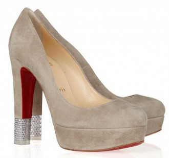 Grey Christian Louboutin pumps with crystal heels