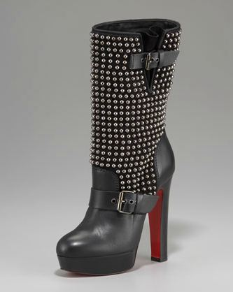 Studded high heel boots by Christian Louboutin