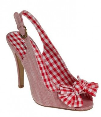 Red gingham shoes with slingback and bow