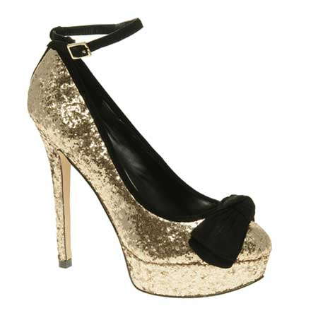 Gold glitter playform shoes with bow