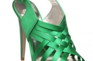 Green satin sandals by Dune