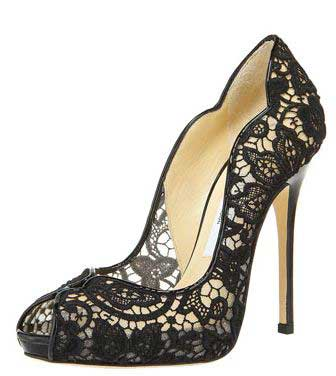 Jimmy Choo lace high heel peep toe shoes