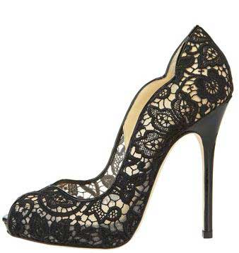 Jimmy Choo scalloped lace pumps