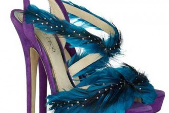 Purple and blue feathered sandals by Jimmy Choo
