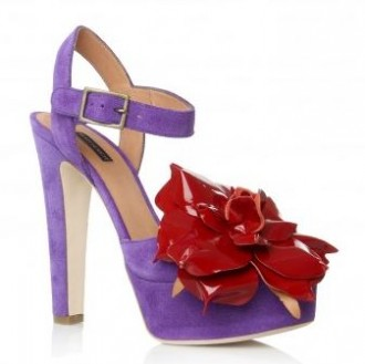 purple suede sandals with red flower