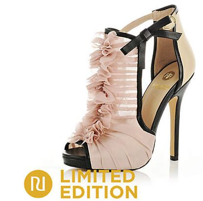 Pink ruffle peep toe shoes
