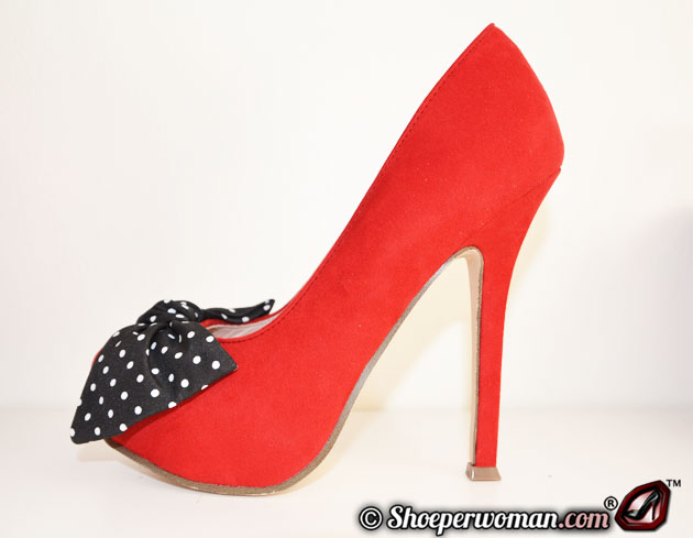 red suede platform shoes with polka dot bow