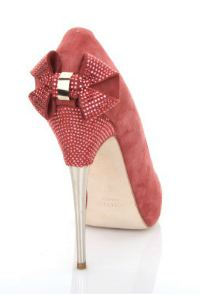 Pink high heel shoes with sparkly bow