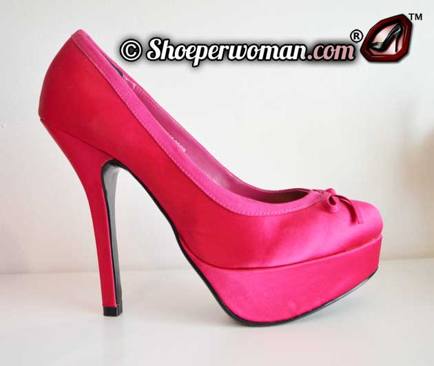 pink satin platform shoes