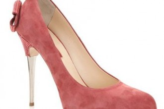 pink high heeled shoes with bow on heel