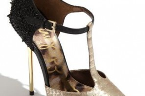 Black and gold t-bar pumps by Sam Edleman