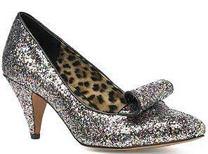 Silver glitter shoes with mid-height heel
