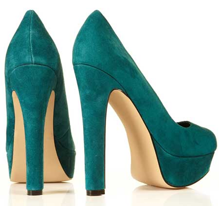 Teal suede high heels from Topshop