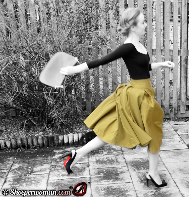 yellow 50s skirt and Christian Louboutin shoes